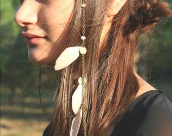 Headband jewel - collection Bobo Indie - Tribal Modeleplume pink / nude / black