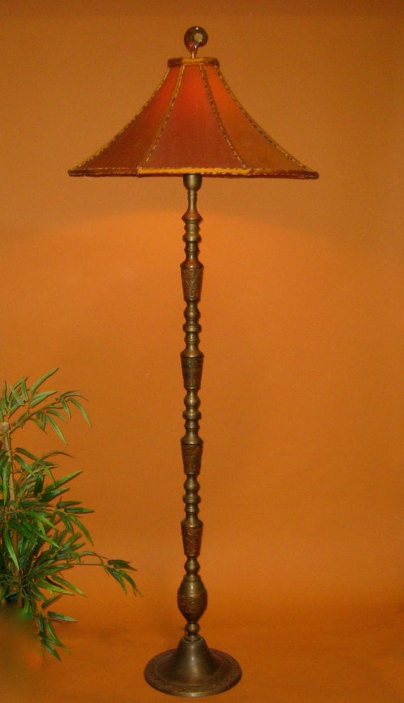 Sold vintage asian floor lamp handmade lamp shade orange like this item aloadofball Image collections