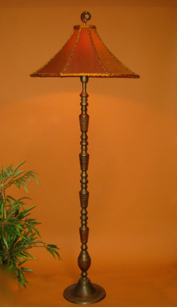 Sold vintage asian floor lamp handmade lamp shade orange like this item aloadofball