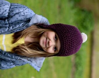 Crochet Beanie Hat with Earflaps Girls Beanie Kids Hat Childrens Hat Pom Pom Hat Maroon
