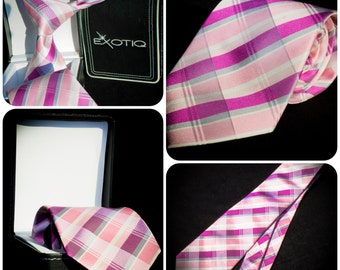 Pink and Grey Italian Silk Tie in Faux Leather Box