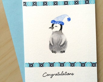 Hand painted Card, New Baby Card, Baby Shower Card, Baby Penguin Watercolor, Baby Boy Card, Handmade Card, Congratulations
