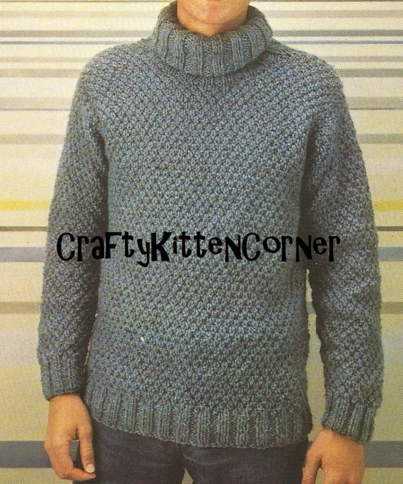 Vintage Mens Irish Moss Stitch Polo Neck Sweater Knitting