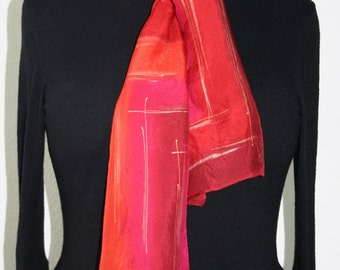 Red Silk Scarf. Burgundy Hand Painted Silk Shawl. Berry Pink Hand Dyed Silk Scarf PASSION FRUIT. Size 8x54. Birthday Gift, Bridesmaid Gift