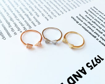 Silver Double Arrow Ring Rivet 925 Silver Diamond Bow Midi Ring Adjustable Open Ring Knuckle Stack Ring Tail Ring Multifinger Ideal Gift