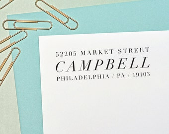 Address Stamp Modern, Return Address Stamp, Custom Address Stamp, Housewarming Gift, H120