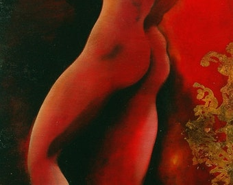 Nude oil painting-red gold on wood fire burst of original and unique man body