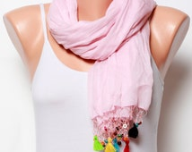 Summer scarves pink scarf lace scarf womens scarves gift ideas fashion scarves crinkle Scarf Voile Scarf Cotton Scarf womens spring Scarf