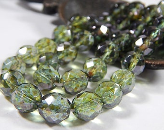 10 Pcs - 10mm Czech Glass Beads - Picasso Green - Faceted Round - Jewelry Supplies