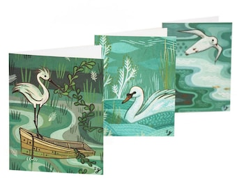 Hand Painted Cards, Swan / Sea Gull Note Cards Blank Notecard Set Blank Note Card Set Blank Note Cards Set Bird Cards