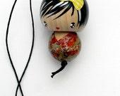 lucky kokeshi doll Japanese doll ornament charm - nao