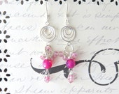Pink Boho Earrings - Agate Cluster Earrings - Hot Pink and Sterling Silver - Dangle Earrings - Semi Precious Stone