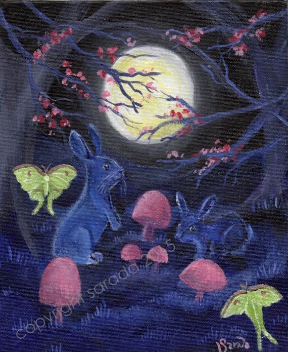 Gothic purple blue moon bunny ghost rabbits spring mushroom forest original art 8 x 10 acrylic painting luna moth spirit animal Easter