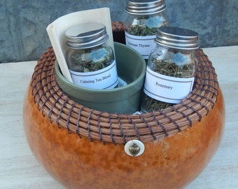 Herbal Gift Basket - Handmade Gourd Basket Container with Organic Herbs, Herbal Tea, Teabags, and Cup