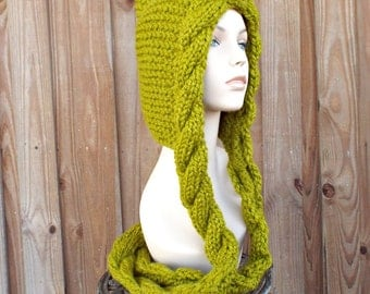 Womens Hat Green Cable Scarf Hat Lemongrass Green Ear Flap Hat - Green Scarf Green Hooded Scarf Green Hat Womens Accessories - READY TO SHIP