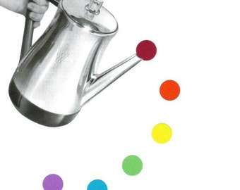 Colorful Kitchen Wall Art, Polka Dot Decor, Retro Mod Coffeepot Art, Coffee Artwork, Retro Modern Kitchen Artwork, Original Collage