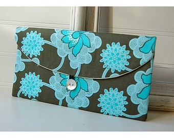 amy butler Bridesmaids Clutch purse sage green aqua Bridal Wedding Shabby chic stocking stuffer Make Up Travel Gadget Holiday Gift Under 25