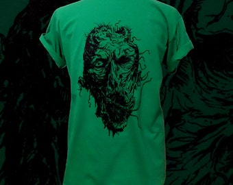 Unisex kelly green ZOMBIE loose fit crew neck Fruit Of The Loom cotton t shirt Sizes S M L XL 2XL