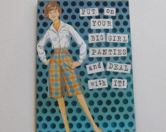Handmade Humor Card Collage Art paper doll Card Hand stamped Blank Inside
