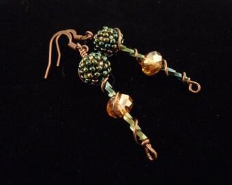 Green, Drop Earrings, Seed Bead Earrings, Beaded Earrings, Peacock, Casual, Long, Bead Pattern, Bugle Bead Earrings, Glass Earrings, Crystal