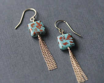 santorini - bead and tassel earrings