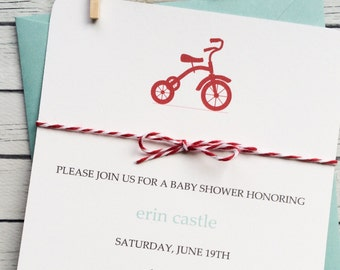 Baby Shower Invite Boy Tricycle