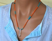 Sleeping beauty Turquoise Necklace, Raw Quartz and Natural Turquoise Statement Necklace, Layering Jewelry