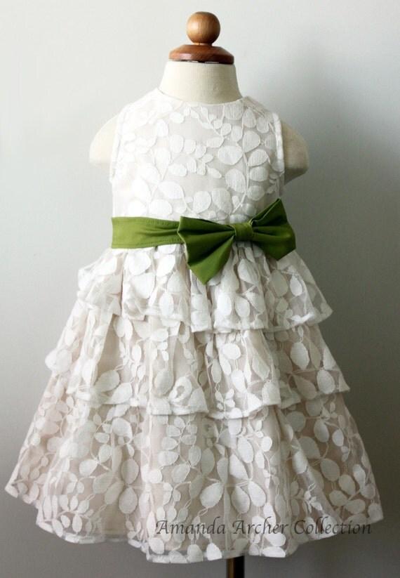 Ivory Lace Flower Girl Dress, Vines