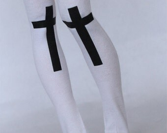MSD BJD clothes White Cross print thigh high socks stockings MonstroDesigns