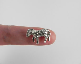 10 Zebra Beads - Antiqued Silver - 12mm x 17mm - Vertical Hole