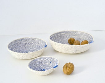 Cotton rope bowls, Set of cotton bowls, Coiled cotton bowls Cotton beach decor, Mediterranean decor Keys holder, Cotton basket Wedding gifts
