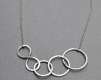 Infinity Hammered Circles Necklace -  Argentium Sterling Silver Statement Necklace Figure 8 Hammered Link Chain Gift for Mom