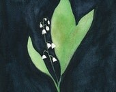 Courage to Remember 1: Lily of the Valley Study, 1 of 3, Original Watercolor Painting, 8 x 10 inches
