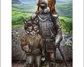 Arya And The Hound-  11 x 14 signed print Cat and Dog Game of Thrones Mashup