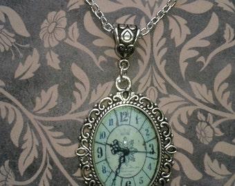 Gothic Lolita Steampunk Clock Silver Metal Filigree Necklace