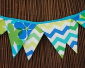 Bunting Banner Pennants, Blue, Yellow and Greens