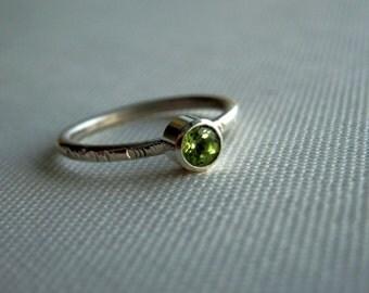Custom sterling and peridot ring / tree bark sterling ring / faceted peridot ring / August birthstone ring / peridot jewelry
