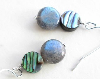 Real Labradorite Earrings, Blue Green Sea Shell Jewelry, Natural Abalone Earrings