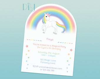 Rainbow Unicorn invitation printable rainbows and unicorns birthday party baby shower DiY personalized invite PDF file