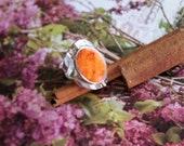 Reversible Sterling Silver Ring orange agate / white agate