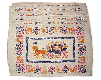 Vintage Placemats Set of 6 Colonial Carriages