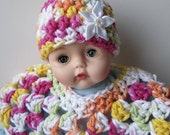 Doll Poncho and Hat. Tangerine, Pink, Yellow, Green, White. 2 Pc. Set. Fits  Huggums and 12 inch Dolls. Cotton. Crochet.  Ready To Ship.