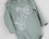 Bike, that's how I roll long sleeve bodysuit organic cotton baby clothes screen printed