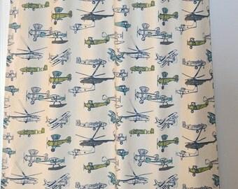 Airplane   Pair Of Custom Curtain Panels   Vintage Air Felix Natural Grey  Blue Green