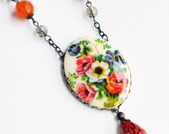 Floral Pendant Necklace Large Vintage Flower Necklace Red Poppy Necklace Victorian Poppy Jewelry