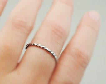 Oxidized Sterling Silver Ring Flat Twist Ring thin silver stacking ring