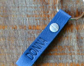 Personalized Navy Blue and Black Leather Keychain - Long & Skinny Style