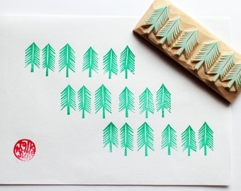 cedar tree hand carved rubber stamp. woodland stamp. winter christmas scrapbooking. gift wrapping. holiday crafts. stamps by talktothesun