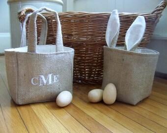 free shipping - bunny basket / burlap / easter basket / rabbit / nursery / storage / organization / custom / personalized / monogram /