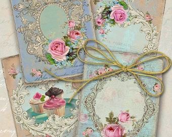 """Printable download VINTAGE GIFT TAGS Digital Sheet 2.5""""x3.5"""" size images shabby chic paper Jewelry Holders ArtCult downloadable paper goods"""